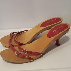 ALDO wooden kitten heel red strap rhinestones